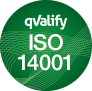 Round green circle with ISO 14001 written with white text