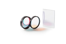 Two round transparent optical filters